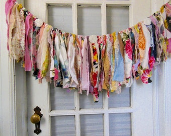 colorful fabric banner, fabric garland,  first birthday, nursery, smash cake banner, window swag