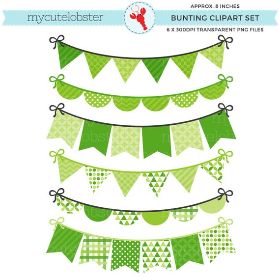 Green Bunting Clipart Set - patterned bunting clip art set, green party bunting - personal use, small commercial use, instant download