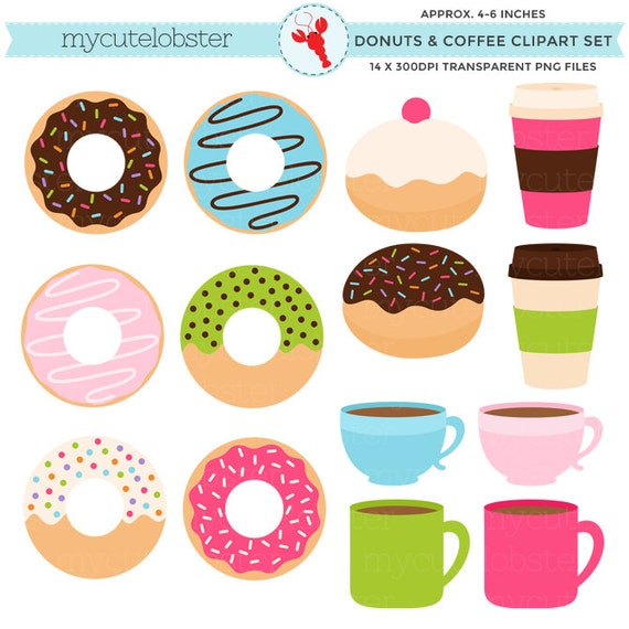 Donuts and Coffee Clipart Set - clip art set of donuts, doughnuts, coffee, mugs, cups - personal use, small commercial use, instant download