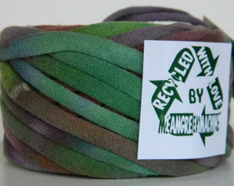 Recycled T Shirt Yarn, Purple, Brown, and Green Tie Dye 25 Yrds, T- Shirt Yarn, Tarn