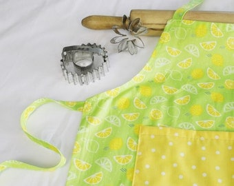 Lemons on Neon Green Child Apron with yellow polka dot pocket - scented