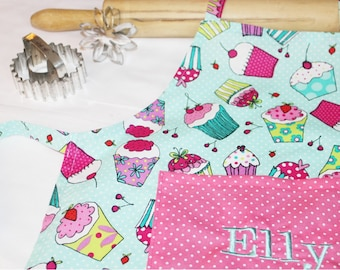 Personalized Aqua Cupcakes Child Apron with pink polka dot pocket - made to order
