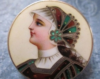 Summer Sale Victorian Enamel And Sterling Brooch Vivid Lady Figural Circa 1800's