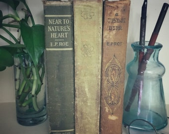 Set of Three Neutral Color Antique Books, Display, Collection, Photo Props, EP Roe