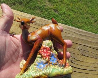 Vintage Mid Century Pottery Baby Deer Figurine or Statue  Box J