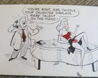 1950's 60's Original Magazine or Greeting Cards Risque Cartoon Playing on the Piano