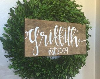 Last name sign, wood name sign, family sign, wood name sign, wedding gift, established wood sign, rustic name sign