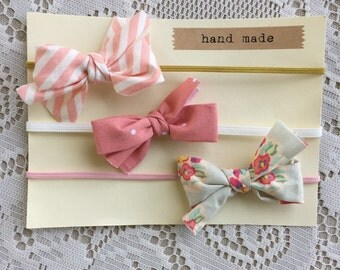 Baby Bow Headbands - Pink, Mustard and Floral Bows