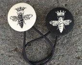 Queen Bee!! Gorgeous Covered Button Hair Ties - set of two Ponytail holders - Natural and Black - Beyonce