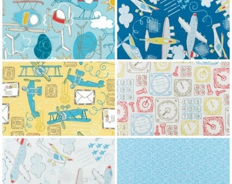 Take Flight Fat Quarter Bundle, Camelot Fabrics, Airplanes Helicopters Boys Navy Blue Yellow