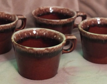 Hull Crestone Brown Mirror Coffee Cups Set of 4 Brown Drip Mugs