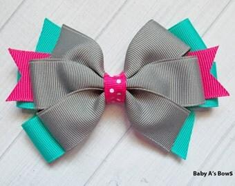 Pink Teal Grey Hair Bow - Pink and Grey Bow, Pink and Teal Bow, Teal and Grey Bow, Pink Teal Grey, Fall Hair Bow, Pinwheel Bow