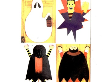 Butterick 3277 Halloween No Sew Ghost, Frankenstein, Witch, Dracula Door Decorations Pattern Uncut