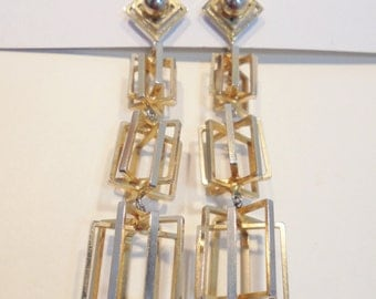 Vintage Cage Earrings Signed VOGUE JLRY Dangle Gold Tone Haute Couture Mod Clip On Retro Art Deco Abstract  Mid Century
