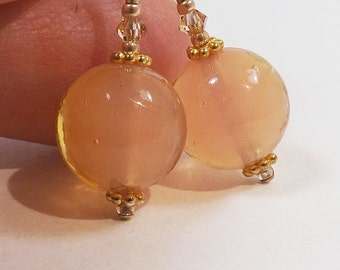 Champagne Peach Murano Glass Earrings, Translucent Soft Glow Peach Earrings with Swarovski Crystals and Gold Bead Accents, Peach Wedding