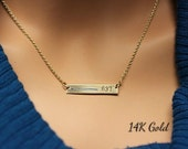 Thin Blue Line personalized 14K gold necklace for Police wives.Custom law enforcement badge number &  blue, red, black line.Rectangle bar.