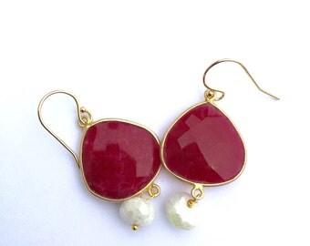 Ruby Silverite Vermeil Earrings, Lilyb444, Jewelry,  Asian Wedding,