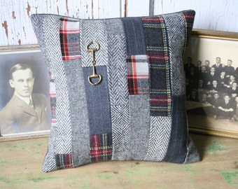 Tartan Patchwork Pillow Cover - Recycled Wool Tweed, Wool 12 Inch - FREE SHIPPING