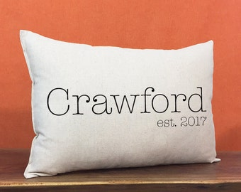Personalized Family Name And Established Date Pillow, Linen Cotton Personalized Pillow, Anniversary Pillow, Personalized Wedding Pillow