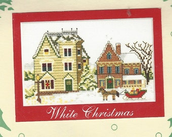 "White Christmas Millhouse Designs Counted Cross Stitch Kit UnOpened Design Size 7"" x 4 1/2"" Christmas Cross Stitch Birthday Gift for Her"