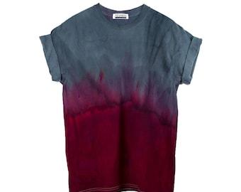 Red Dip Dye T-Shirt < UNISEX SIZE > Grunge Tie Dye Shirt, Black Festival Shirt, Grey Tie Dye Shirt, Grunge Grey Tie Dye, Edgy Festival Top