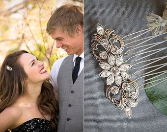 COLINE, Victorian Style SWAROVSKI Rhinestone Wedding Hair Comb, Oval Bridal Hair Comb, Wedding Hair Accessory (Signature Collection)