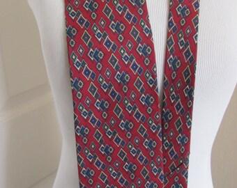 "Christian Dior - Mens Burgundy Red Silk Neck Tie 4"" x 58"""