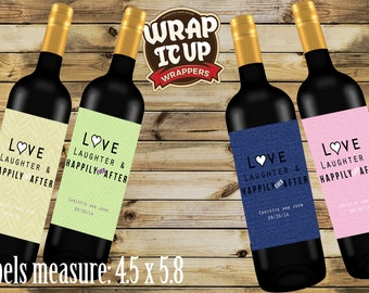 Wine Labels, Wedding Wine Labels, Love Laughter and Happily Ever After Wine Labels. Personalized Wine LabelsSet of 20