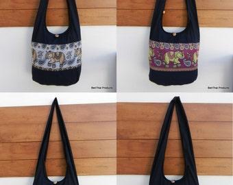 Jet Black Ethnic Elephant Paisley Sling Crossbody Bag Shoulder Purse Hippie Hobo Gypsy Bohemian Large with Lining Set B