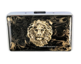 RFID Metal Wallet Large Lions Head Inlaid in Hand Pianted Black Enamel Leo Credit Card Wallet Custom Color and Personalized Option
