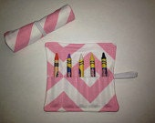 Pink Chevron Party Favor, Pink Chevron Crayon Roll, Party Favor For Kids, Kids Party Favor, Crayon Roll, Crayon Roll Up, Pink Chevron