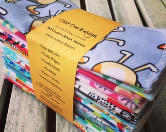 """30 Reusable Cloth Baby Wipes- 7""""x7"""" 2 Ply Flannel Special Sale Price You pick Patterns, or Assorted Ready to Ship"""