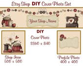 Etsy Shop Banner New Size Cover Photo Set DIY Add Your Shop Name Adorable Sewing Banner Instant Download