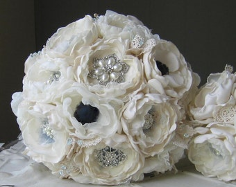 Fabric flower brooch bouquet . Custom made . White ivory anemones, navy blue, lace, Swarovski crystals, pearls brooches