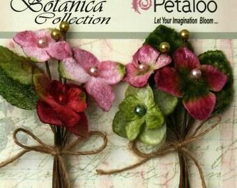 Petaloo Velvet Hydrangea 2 Picks in Rose