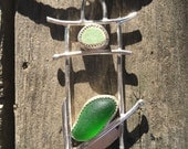 Genuine Green Sea Glass leather Necklace