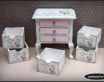 Miniature dollhouse wooden box, 1:12 dollhouse home decor, shabby miniature