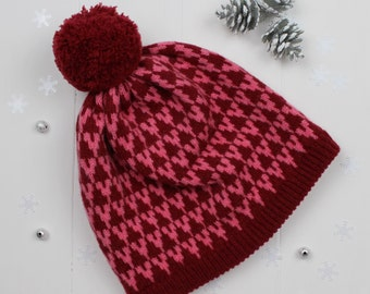Red and pink arrow knitted pom pom hat - made in Great Britain from lambswool