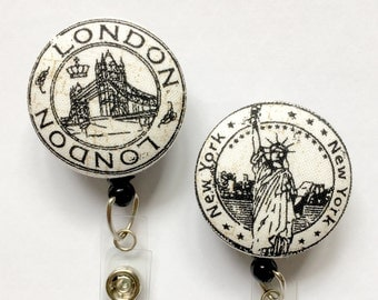 Travel Stamps Badge Reel - Four Choices -ID Badge Holder - ID Badge Reel - Travel ID Badge - Badge Reel - Nurse Gift - Fabric Badge Reel