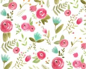 Design Your Own - Fuchsia Pink, Green, Teal Aqua Peonies Floral  - changing pad cover, rail covers, boppy covers, sheets, skirt, bumpers