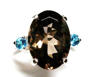"smokey quartz ring, quartz topaz  ring , 3 stone ring, blue brown, wedding anniversary, s 6 1/2  ""Panda Bear"""