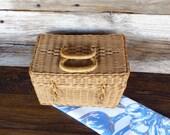 Wicker Picnic Basket Small Natural Woven Wicker Storage Basket Cottage Chic Farmhouse Decor Decorative Basket