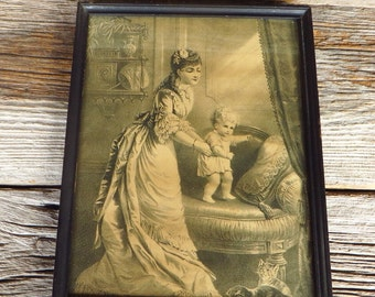 Victorian Mother and Child Framed Print Mother Baby with Kittens Sepia Print in Black Wooden Frame Victorian Home Decor