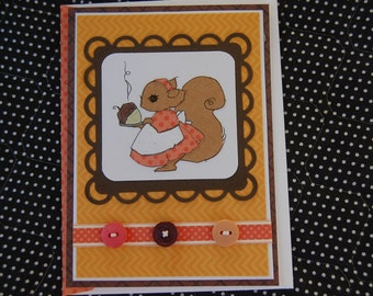 Acorn Dinner Thanksgiving Card and Coordinating Envelope