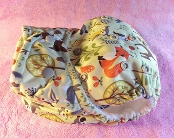 SassyCloth one size pocket diaper with storybook buddies PUL print. Made to order.