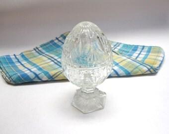 Egg Covered Dish Clear Cut Glass