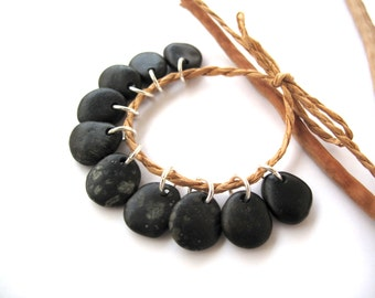 Stone Beads Natural Stone Charms Diy Jewelry Mediterranean Drilled Beach Stone Beads River Stone Charms Pairs Small OLIVE CHARMS 15 mm