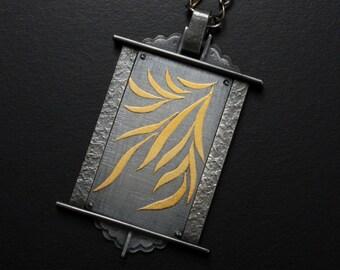 Japanese art pendant necklace, thriving leaf Keum Boo pendant necklace, black and gold pendant necklace