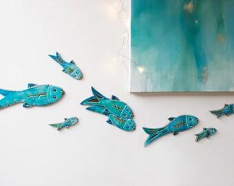 Set of 10 ceramic fish // Fish wall art // Fish wall hangings // Ceramic art // Fish ornament // Ceramic fish // Turquoise
