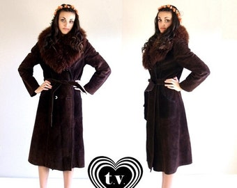 Half Off vtg 60s cocoa brown SHEARLING real fur HIPPIE COAT Small suede leather belted boho outerwear